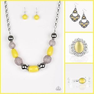 Paparazzi 4 piece yellow set with moonstone